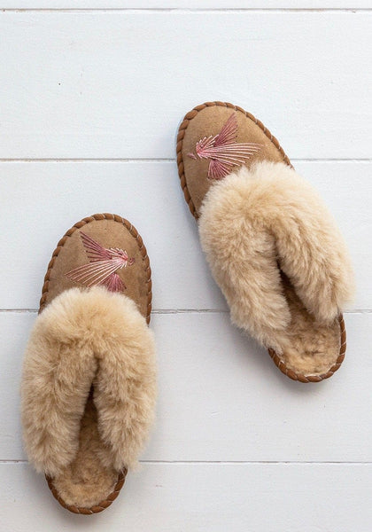 Seconds - Women's Sheepskin Mules - Pink Love Birds - The Small Home