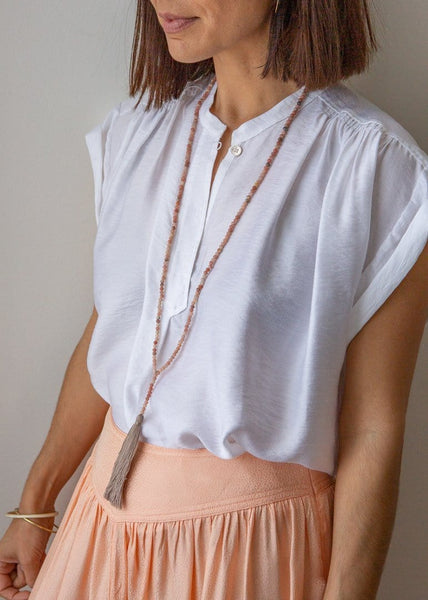 Semiprecious Tassel Necklace - Pink - The Small Home