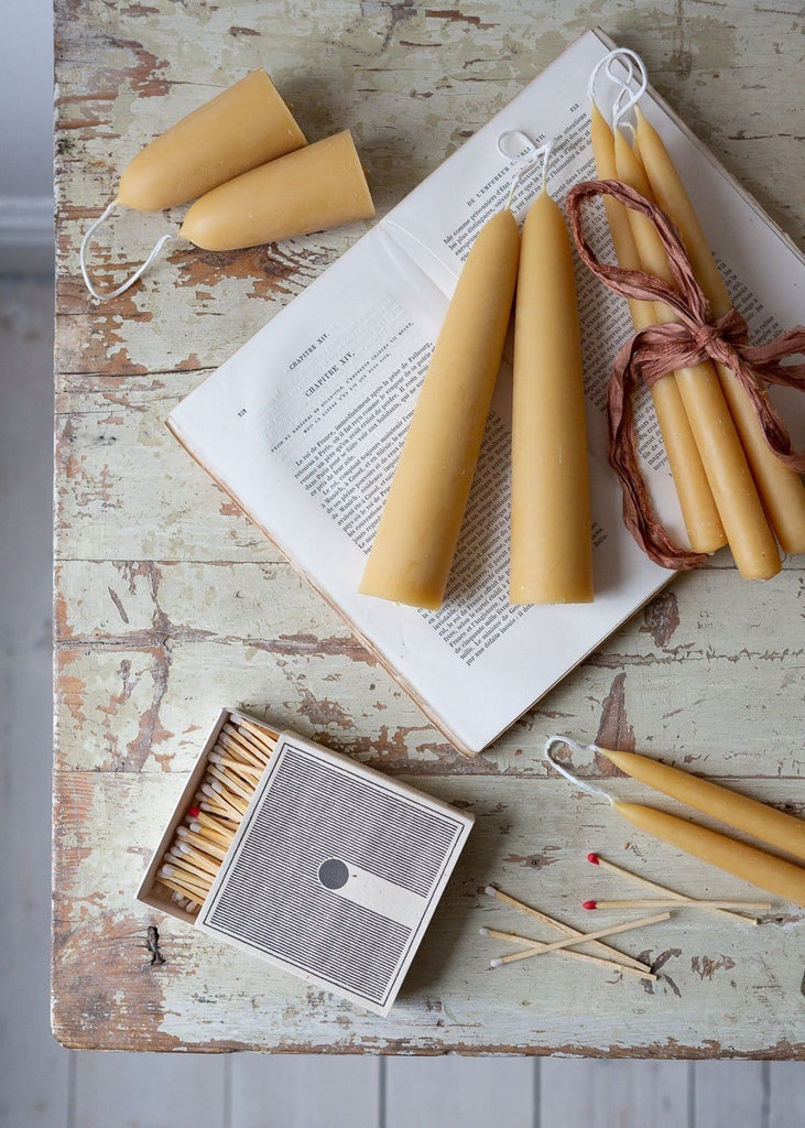 Short Stubby - Pairs of 100% Pure Beeswax Candles - The Small Home