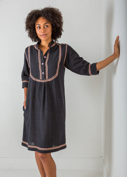 The Embroidered Shirt Dress – Black/Blush Pink - The Small Home