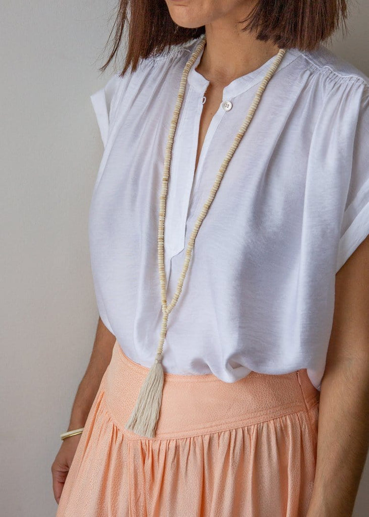 Tyre Bead Bone Tassel Necklace - Natural/Cream - The Small Home
