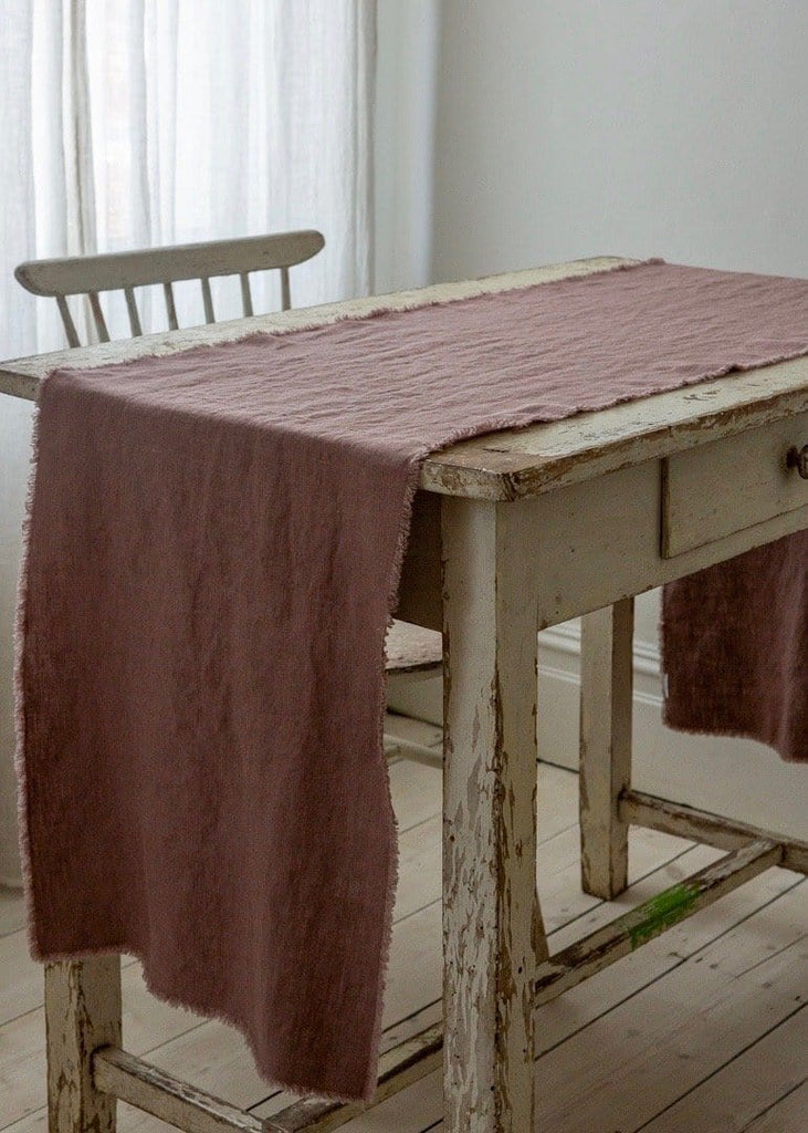 Washed Linen Table Runner - Ash Rose Fringe - The Small Home
