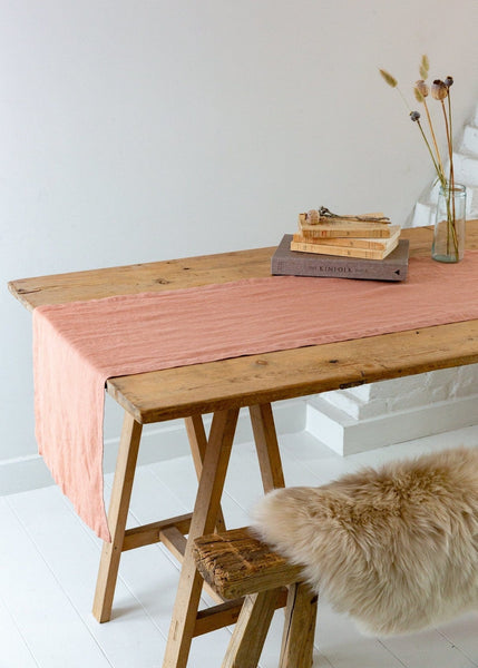 Washed Linen Table Runner - Pink Clay - The Small Home