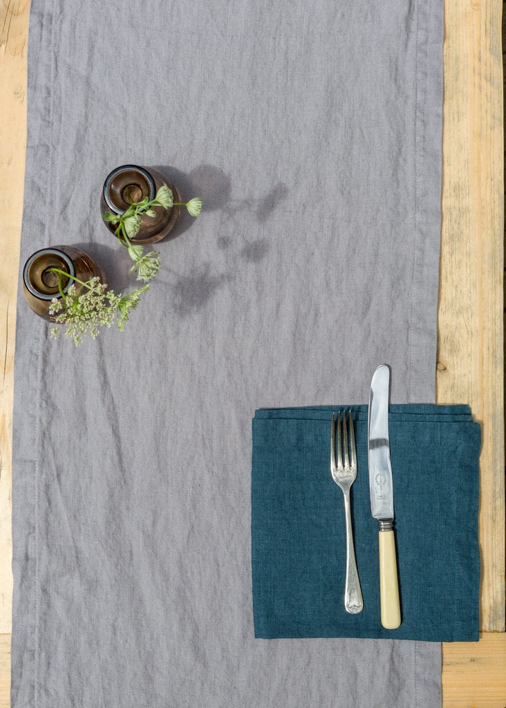 Washed Linen Table Runner - Thunder Grey - The Small Home