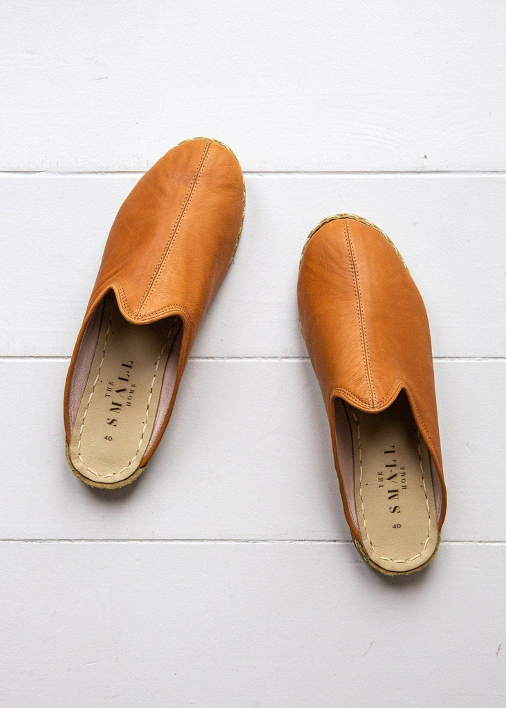 Women's Luxe Leather Slide – Warm Tan - The Small Home