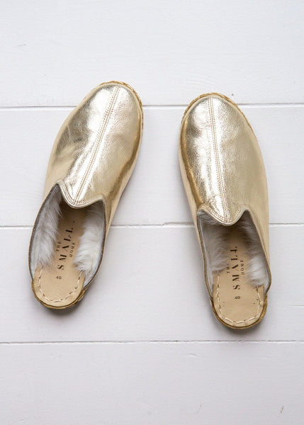 Women's Luxe Shearling Slide – Gold - The Small Home