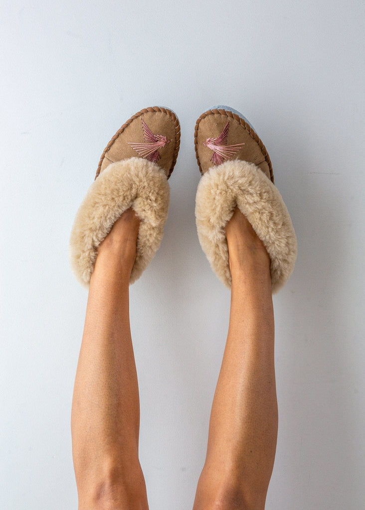 Women's Sheepskin Moccasin Slippers, Love Birds, pink, The Small Home, UK ladies slippers, comfy & warm real fur Slippers