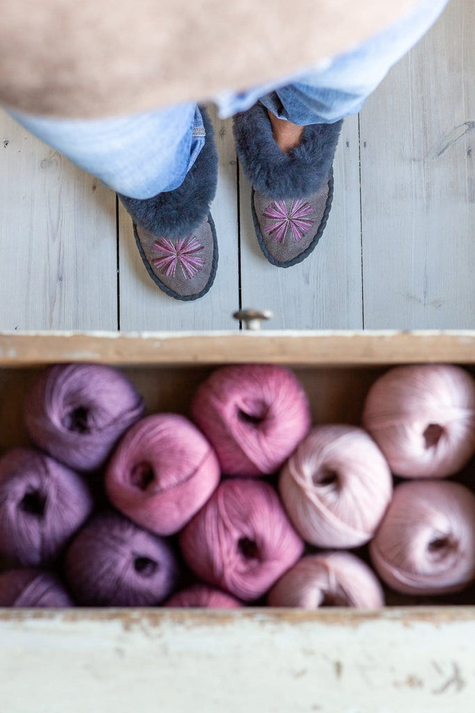 Women's Sheepskin Moccasin Slippers – Pink Urchin - Smoke - The Small Home