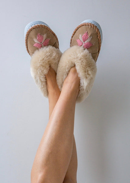 Women's Sheepskin Moccasin Slippers feminine pink embroidered The Small Home UK ladies slipper comfy & warm real fur Slippers