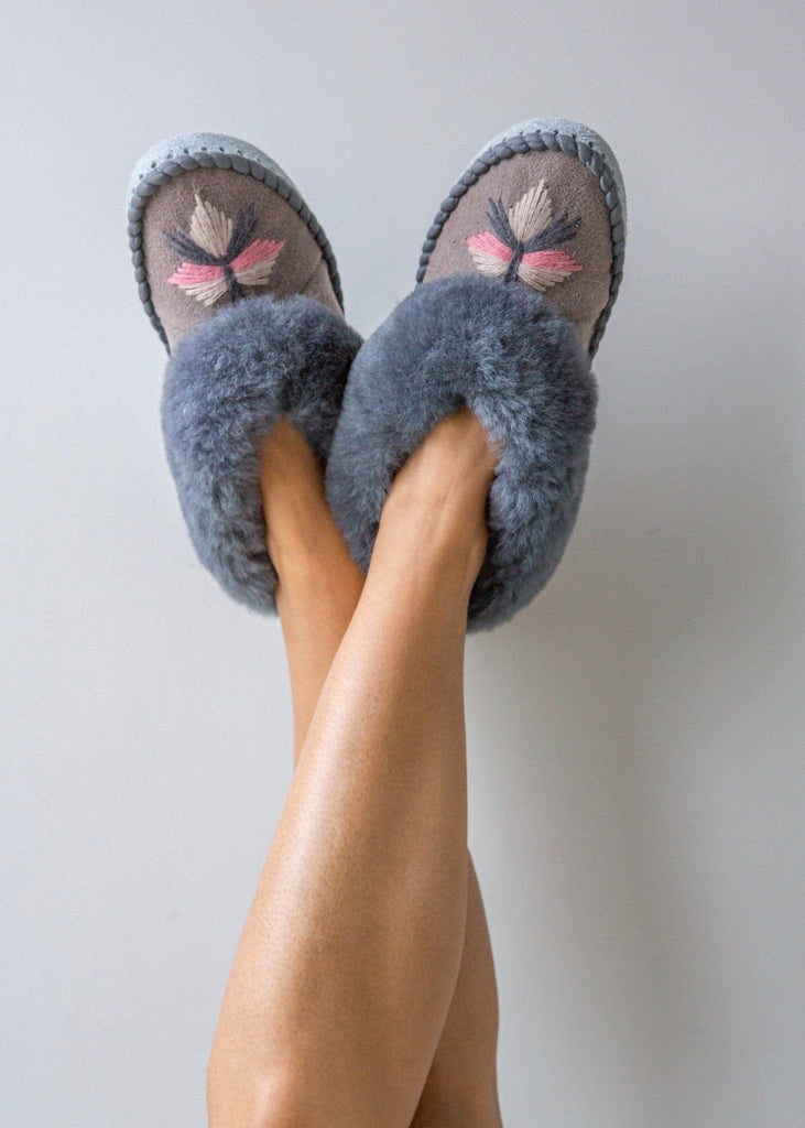 Women's Sheepskin Moccasin Slippers Pale Grey. Embroidered The Small Home UK ladies slippers. Comfy & warm real fur Slippers