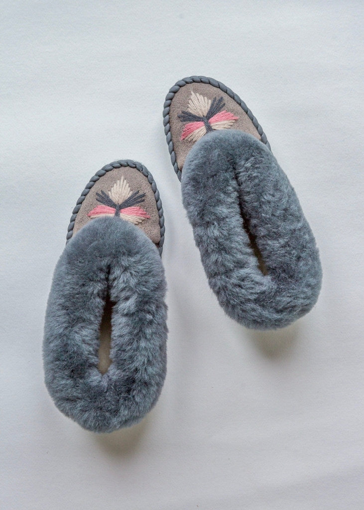 Women's Sheepskin Moccasin Slippers Winter Sky. Embroidered The Small Home UK ladies slippers. Comfy & warm real fur Slippers