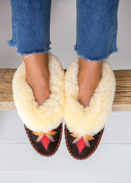 Women's Sheepskin Moccasins – Chocolate/Cayenne - The Small Home