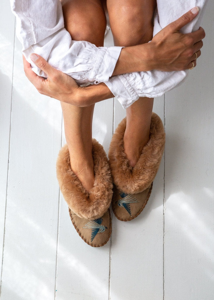 Women's Sheepskin Moccasin Slippers Love Birds Blue. The Small Home UK ladies slippers. Comfy & warm real fur Slippers