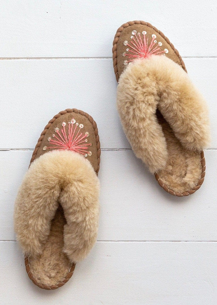 Women's Sheepskin Mules – Alliums - Gold/Pink - The Small Home