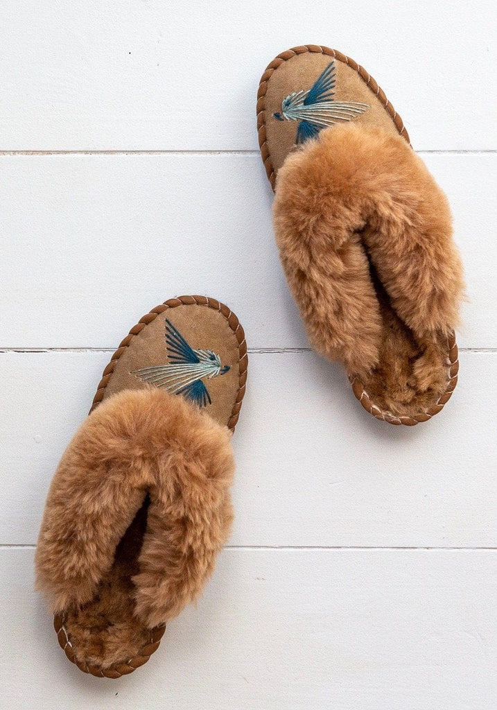 Women's Sheepskin Mules – Love Birds - Blue - The Small Home
