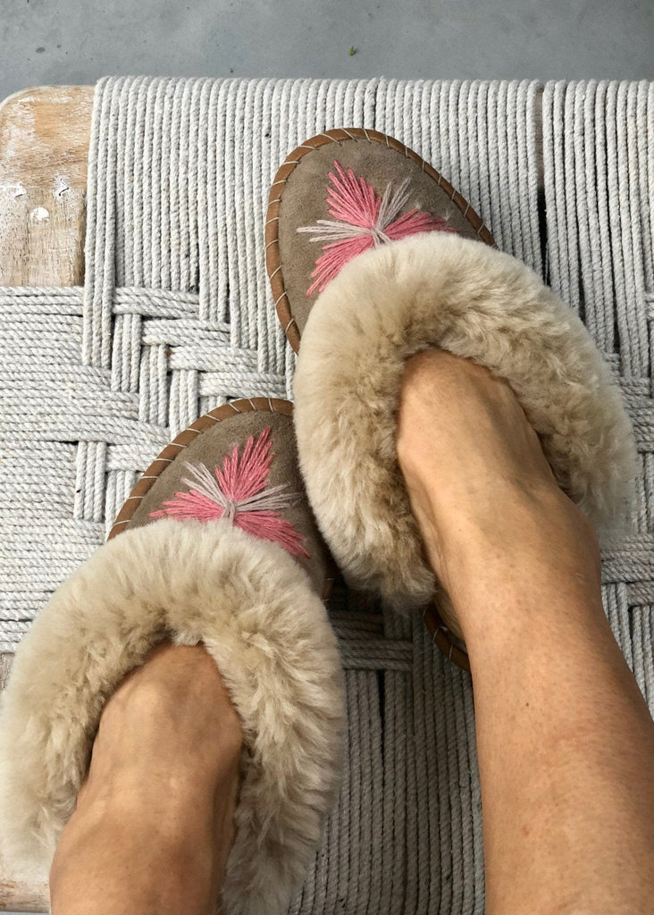 Women's Sheepskin Slipper Mules pretty pink. The Small Home Ladies Real Fur Slippers. UK Slippers. Cosy & warm slippers.
