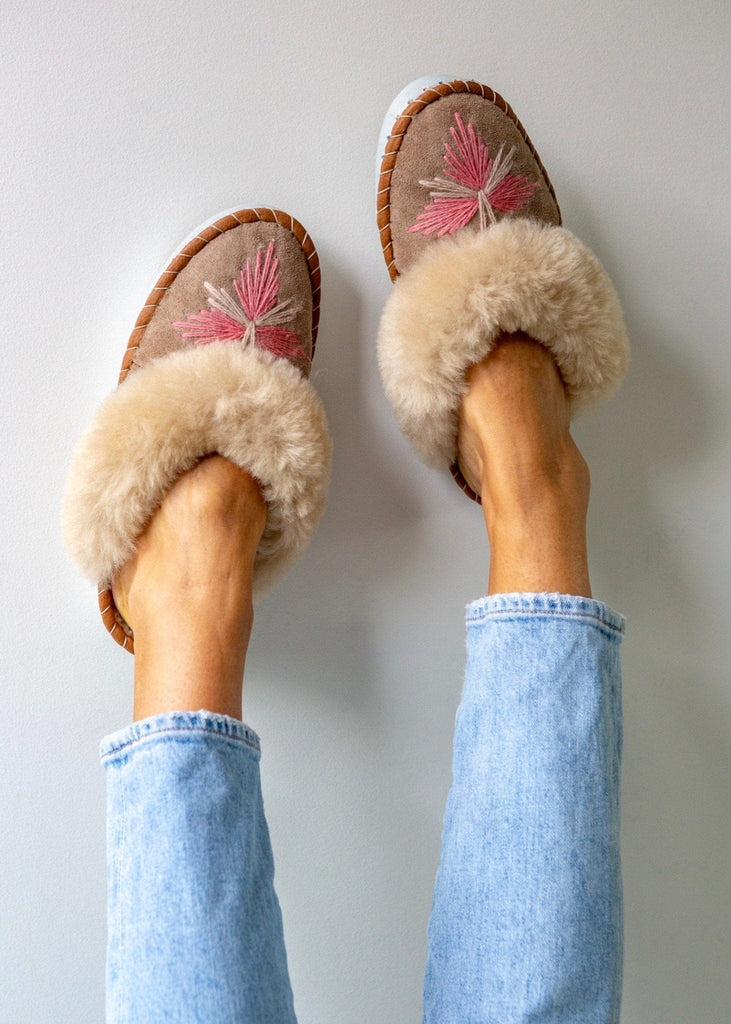 Women's Sheepskin Slipper Mules pale pink. The Small Home Ladies Real Fur Slippers. UK Slippers. Cosy & warm slippers.