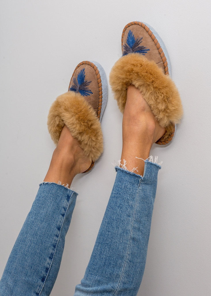 Women's Sheepskin Slipper Mules navy blue. The Small Home Ladies Real Fur Slippers. UK Slippers. Cosy & warm slippers.