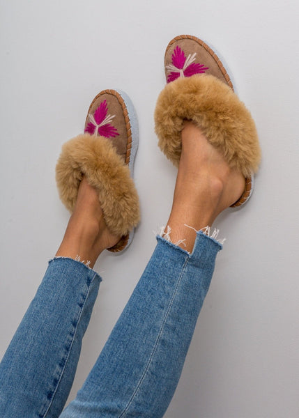 Women's Sheepskin Slipper Mules Rhubarb. The Small Home Ladies Real Fur Slippers. UK Slippers. Cosy & warm slippers.