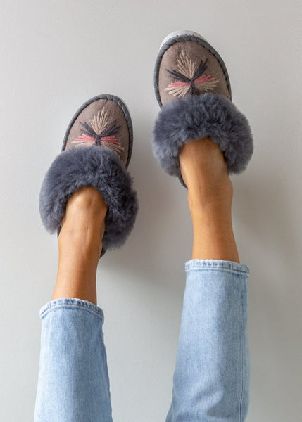 Women's Sheepskin Slipper Mules Grey. The Small Home Ladies Real Fur Slippers. UK Slippers. Cosy & warm slippers. Best gift.