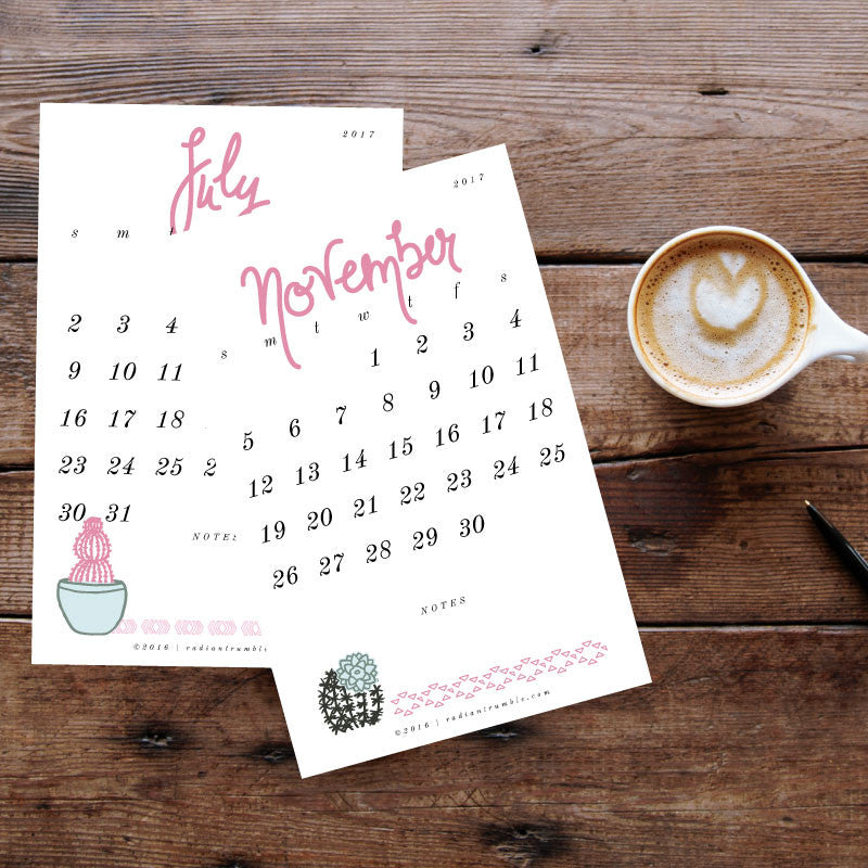 New Products: 2017 Printable Desk Calendars!!