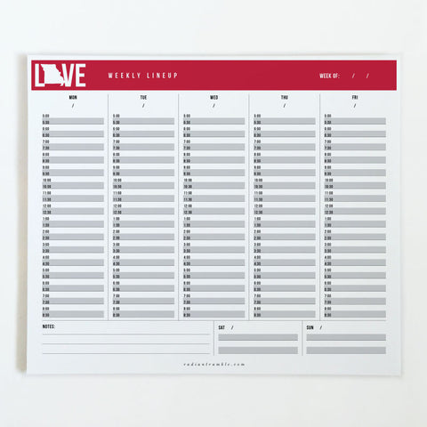 Missouri Cardinal Love Weekly Desk Pad, choose from 6 layouts + shop radiantrumble.com