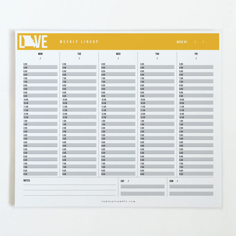 Missouri Gold Love Weekly Desk Pad, choose from 6 layouts + shop radiantrumble.com