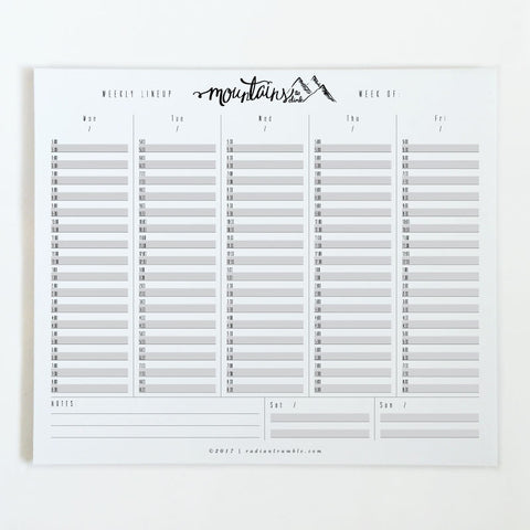 Mountains Weekly Deskpad (choose from 6 layouts!) + radiantrumble.com