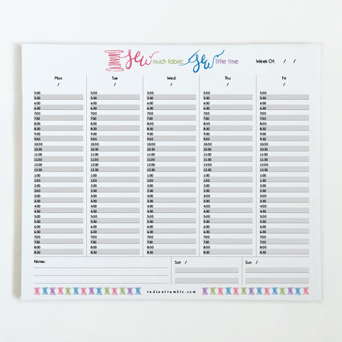 """Sew much fabric, sew little time"" Weekly Deskpad (choose from 6 layouts!) + radiantrumble.com"