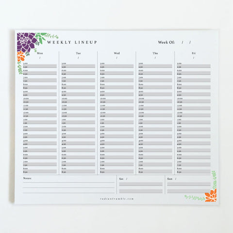 Succulent Weekly Desk Pad (choose from 6 layouts!) + radiantrumble.com