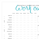 Monthly Gym Schedule Printable Pdf Page