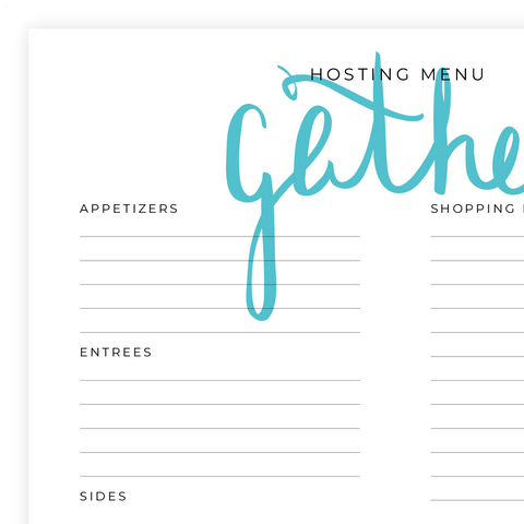 Hosting Menu Printable Pdf Page