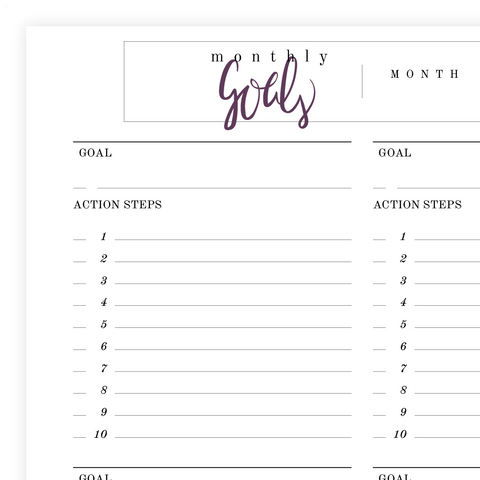 Monthly Goals Printable Pdf Page