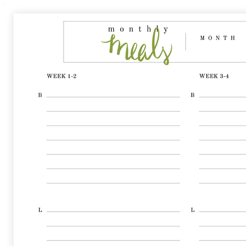 Monthly Meal Plan Printable Pdf Page