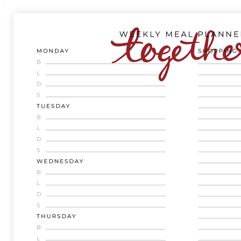 Weekly Meal Planner Printable Pdf Page