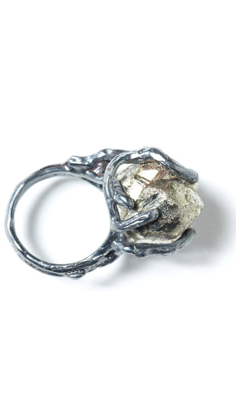 EARTH Sterling Silver Pyrite Pinky Ring