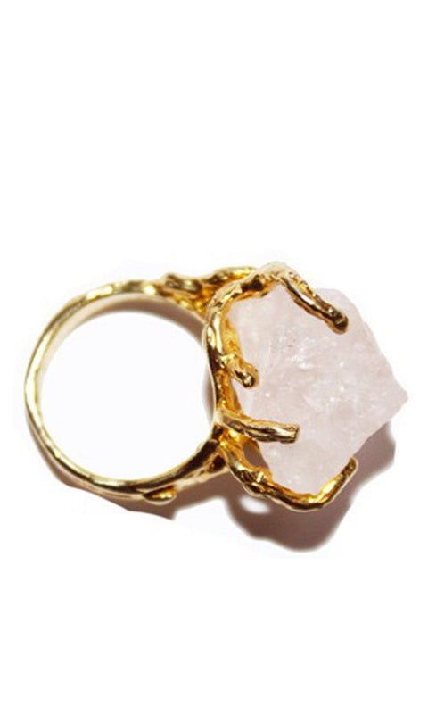 FIRE 18K Gold Plated Sterling Rose Quartz Pinky Ring