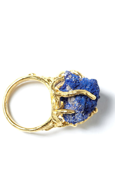 WIND 18K Gold Plated Sterling Silver Azurite Pinky Ring