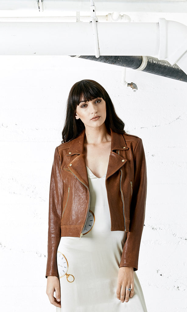 BOWIE Lamb Skin Brown Leather Jacket