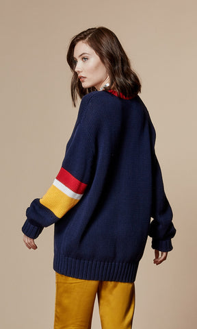 RYDER Oversized Navy Sweater