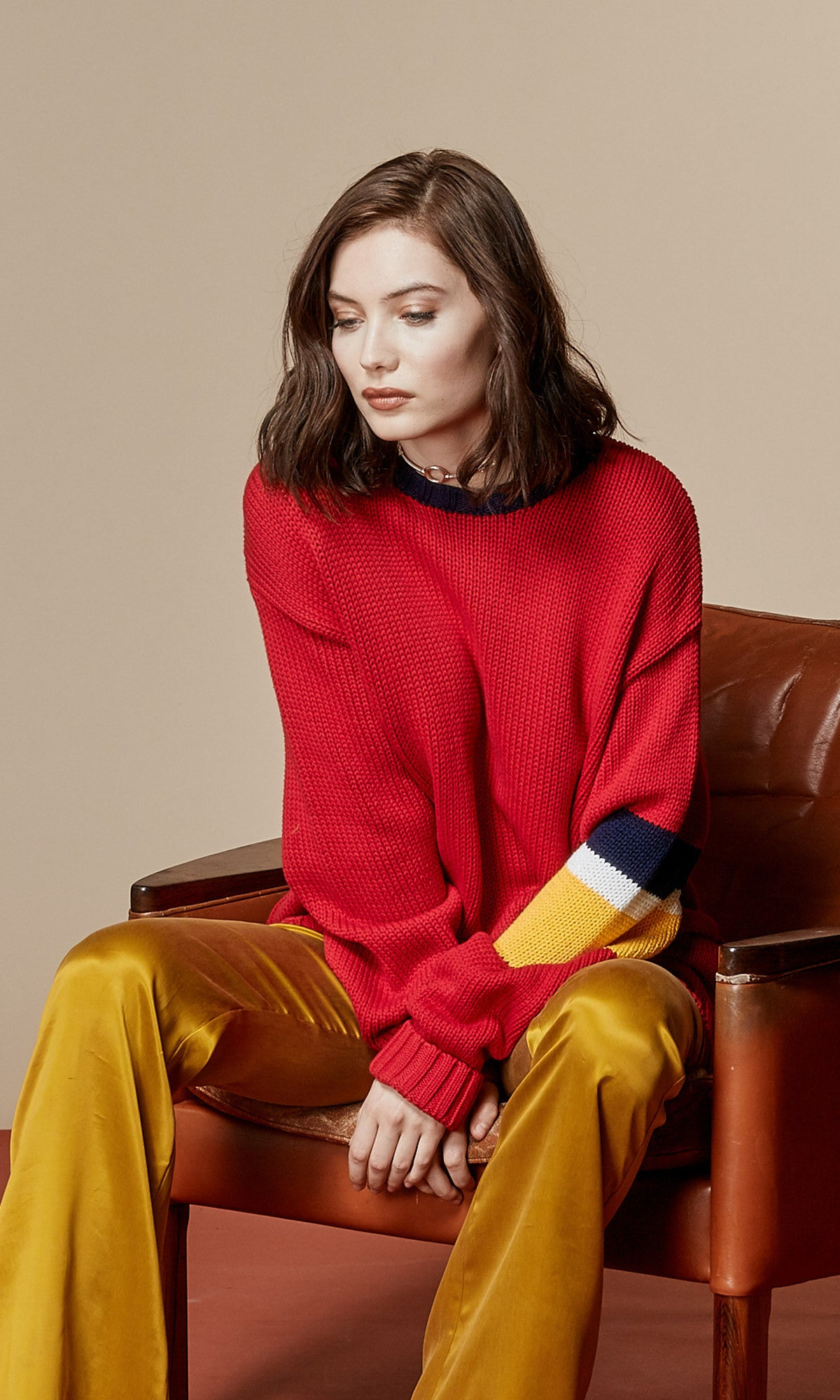 RYDER Oversized Red Sweater