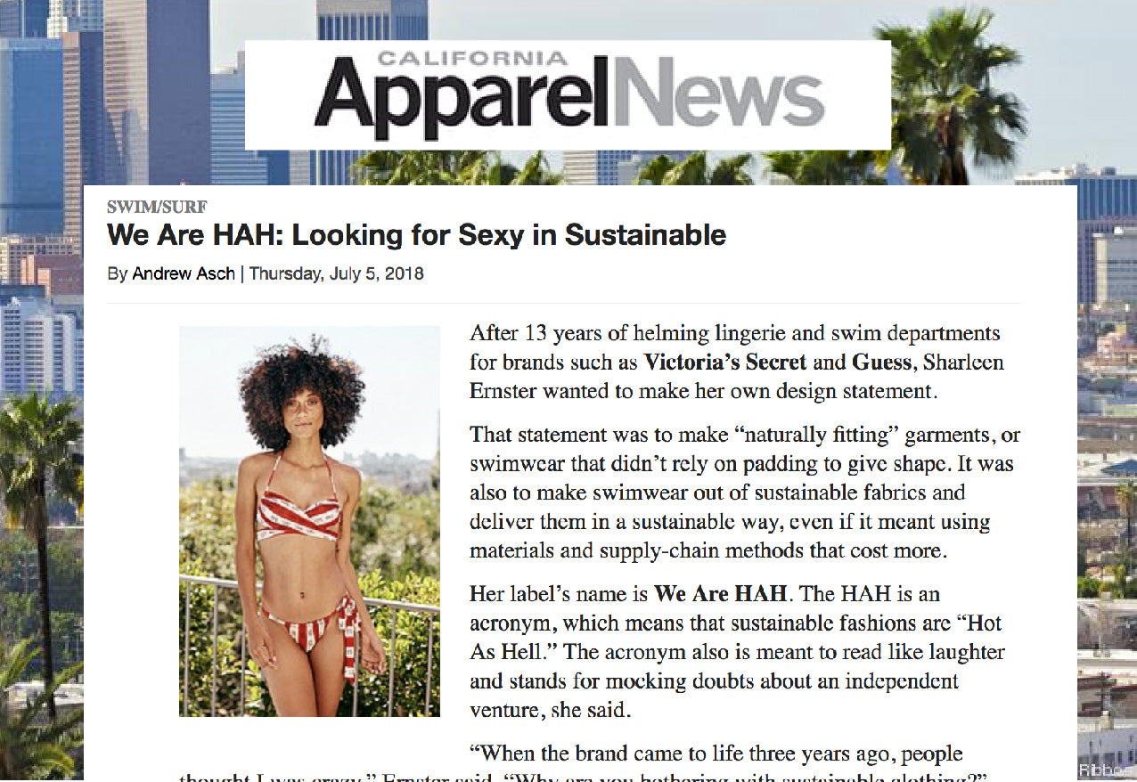 california news article sustainable fashion sharleen ernster