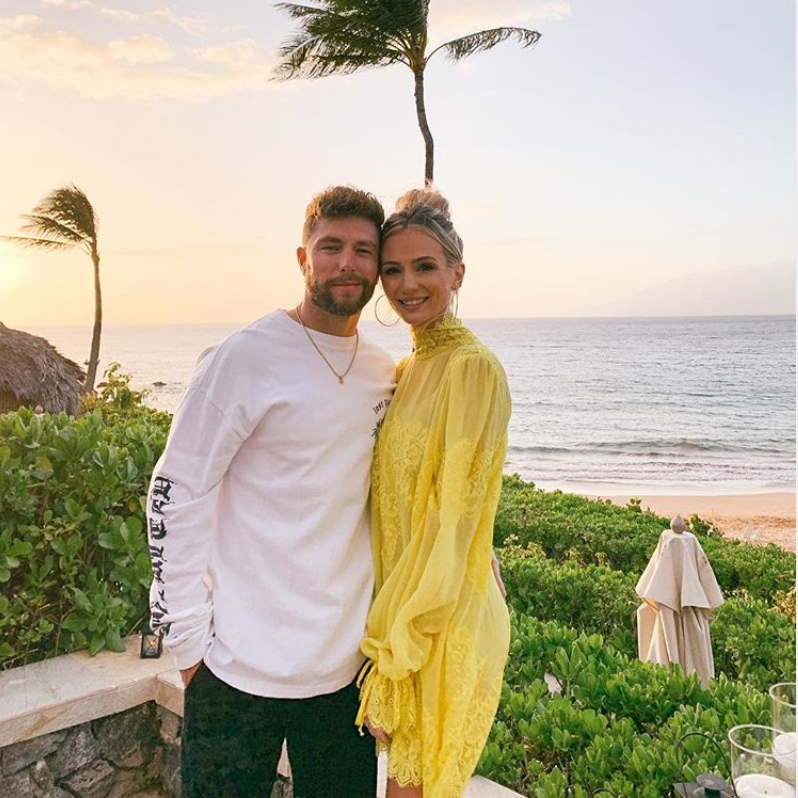 lauren bushnell HAH hot as hell we are hah wearing yellow dress lace date boyfriend bachelor chris lane queen 4 a day sunshine Maui Beach