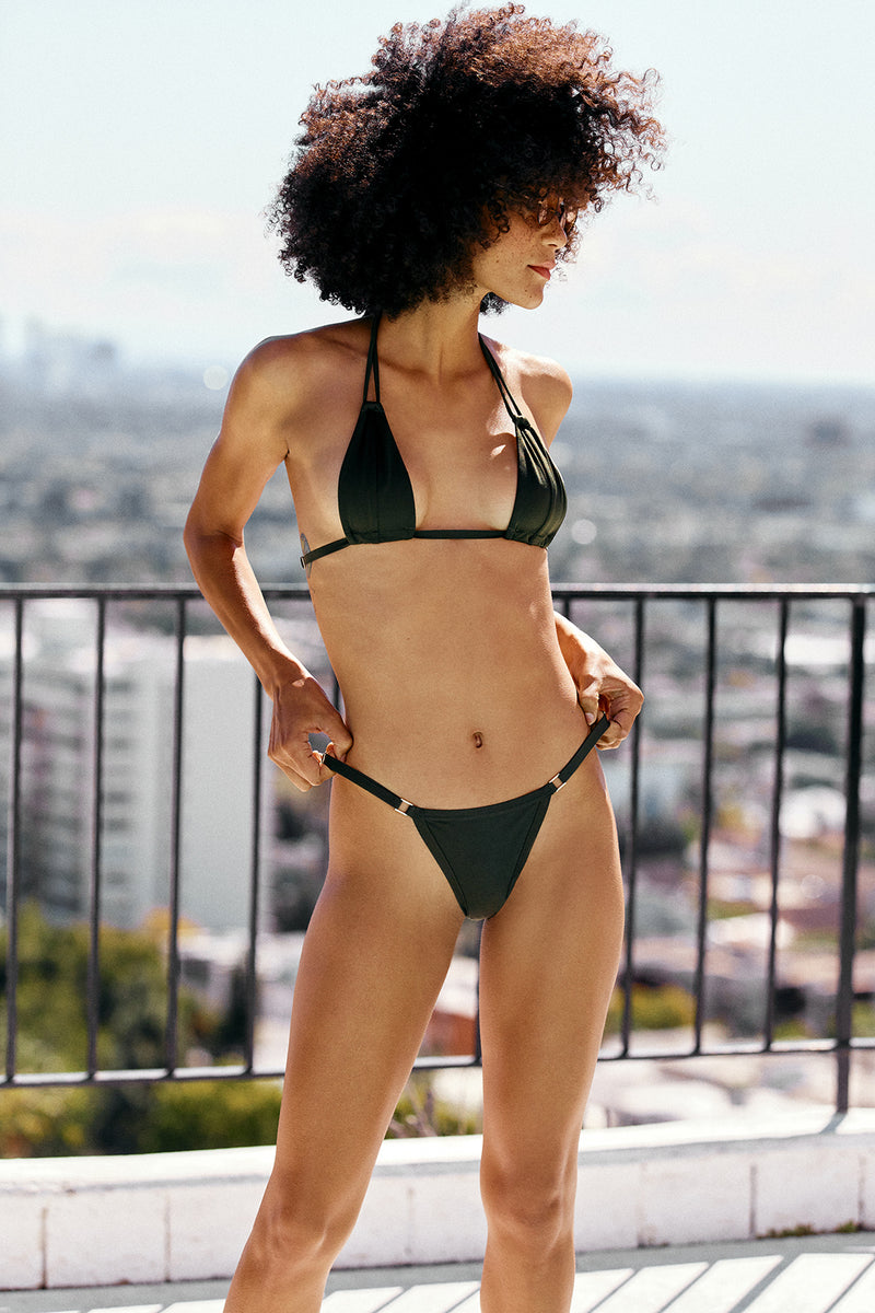 green vintage inspired bikini top minimal Brazilian coverage eco-friendly & sustainable fabric