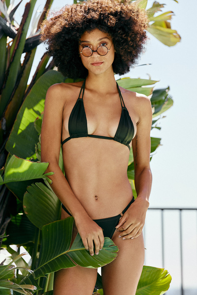 dark green vintage inspired bikini bottom moderate coverage eco-friendly sustainable