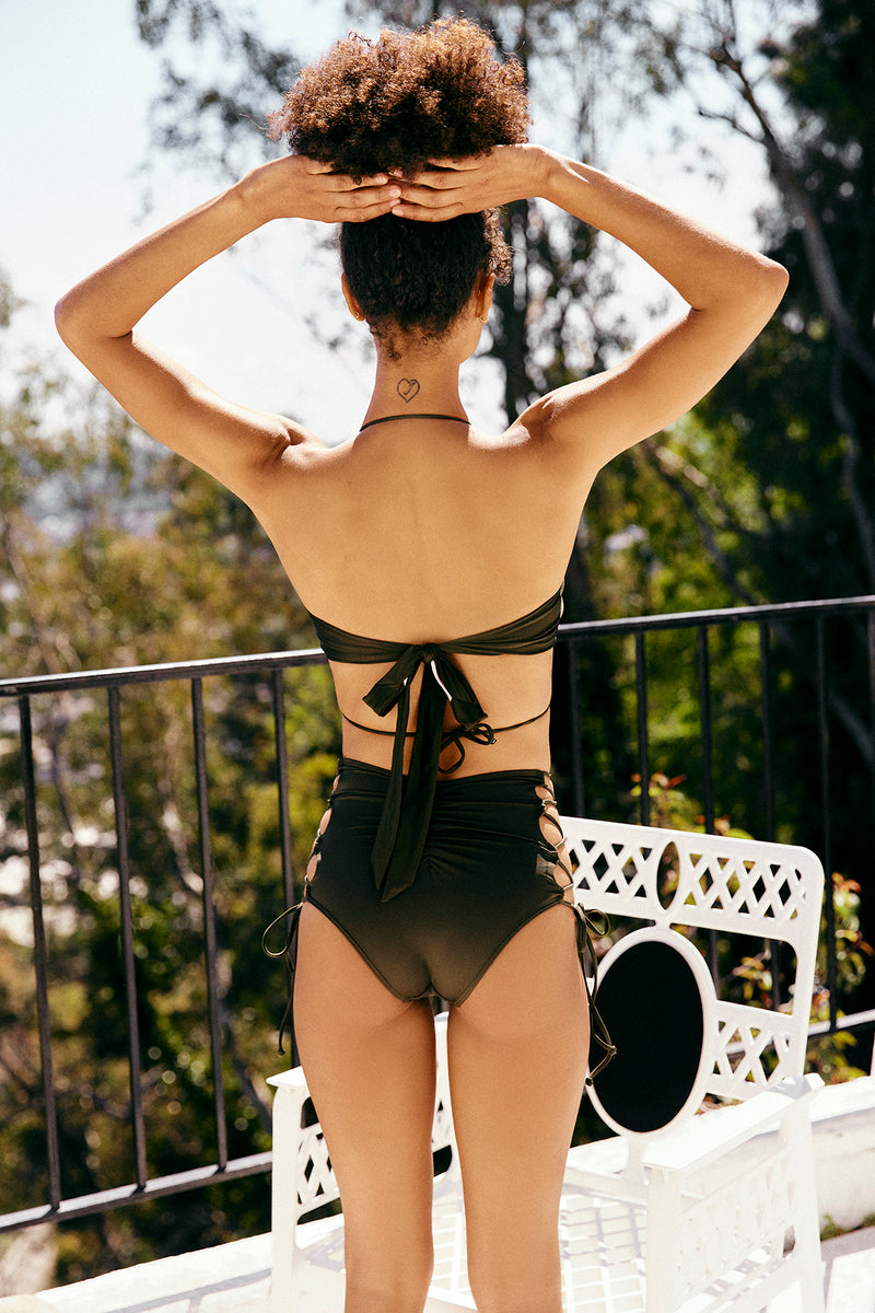 dark green vintage inspired high waisted bikini bottom moderate coverage eco-friendly & sustainable fabric
