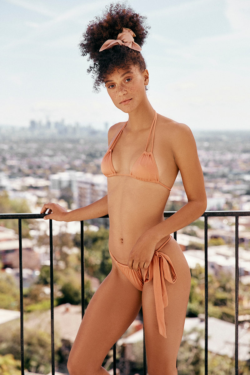 copper vintage inspired side-tie cheeky bikini bottom eco-friendly & sustainable fabric