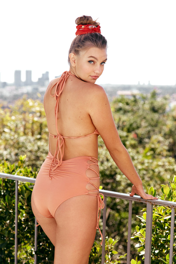 orange nude brown vintage inspired high waisted bikini bottom moderate coverage eco-friendly & sustainable fabric