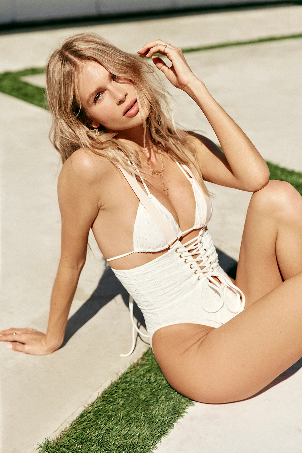 white eyelet vintage inspired bikini top minimal coverage eco-friendly & sustainable fabric