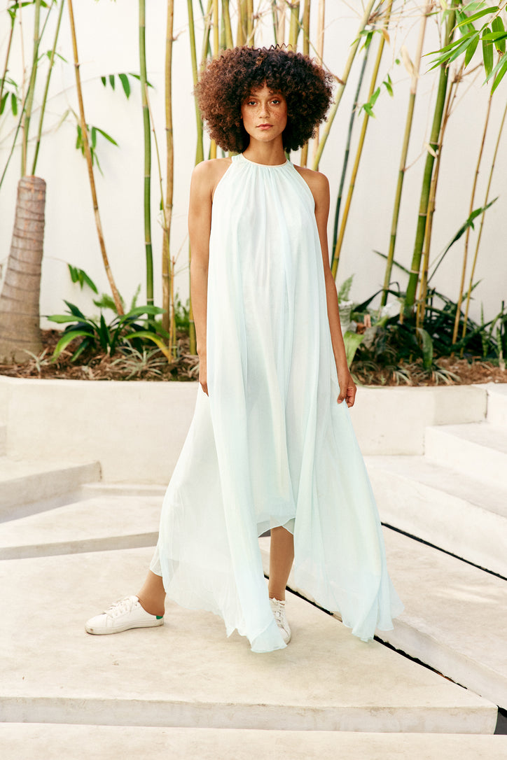 light blue reversible maxi dress keyhole high neck machine washable vintage inspired